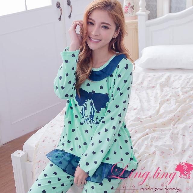 【lingling日系】PA2917全尺碼-滾邊雪紡愛心蝶結哺乳孕婦裝居家長袖二件式睡衣組(氣質藍綠)