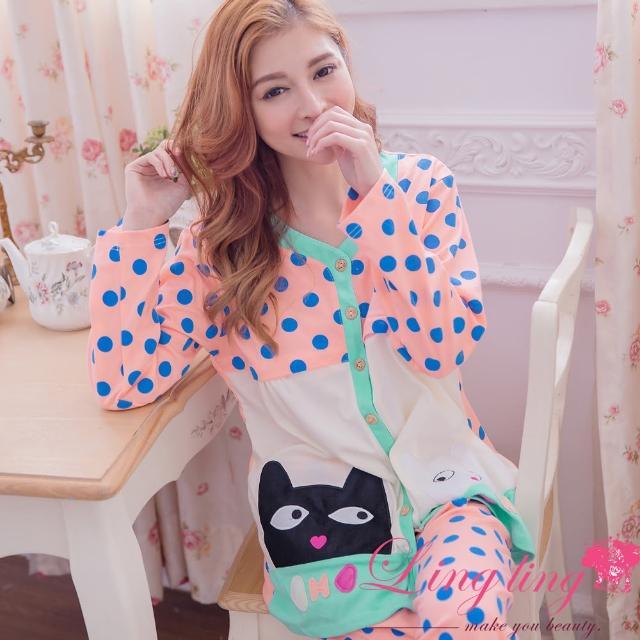 【lingling日系】PA2927全尺碼-小貓貼布圓點哺乳孕婦裝居家長袖二件式睡衣組(活力淺桔)限量出售