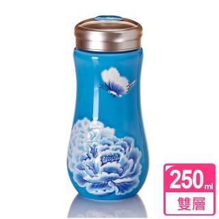 【乾唐軒活瓷】盛世牡丹隨身杯 / 海碧彩 / 大 / 雙層