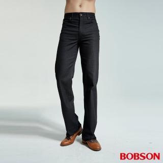 【BOBSON】男款人字斜紋伸縮直筒褲(黑1694-88)