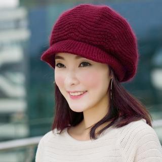 【幸福揚邑】雙層保暖護耳小顏針織鴨舌貝蕾帽小臉兔毛線帽(酒紅)