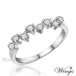 【WINGS】滿天星 纖細美麗的優雅 精鍍白K金戒指 聖誕(可做尾戒)