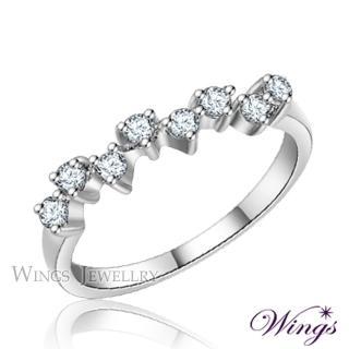 【WINGS】滿天星 纖細美麗的優雅 精鍍白K金戒指(可做尾戒)