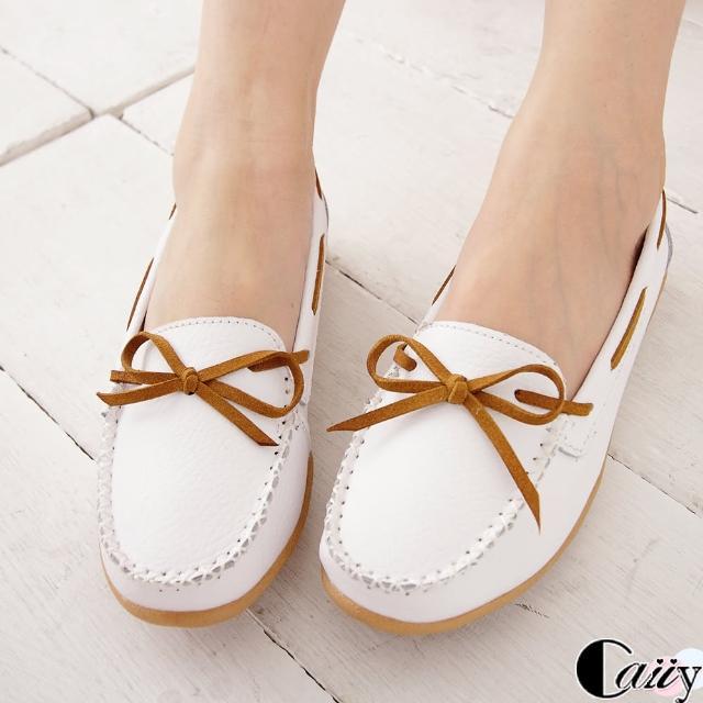 【Caiiy】真皮百搭素色蝴蝶結懶人鞋 BF13(白色)