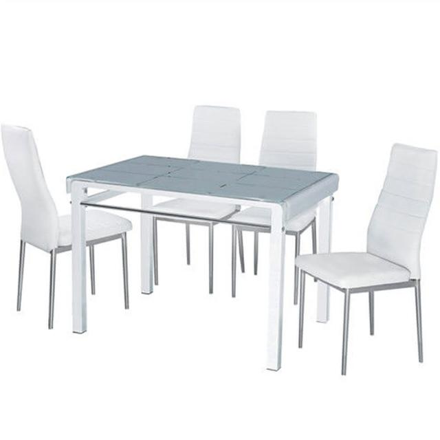 【AT HOME】馬可3.6尺玻璃烤漆桌椅組(1桌4椅/2色可選)