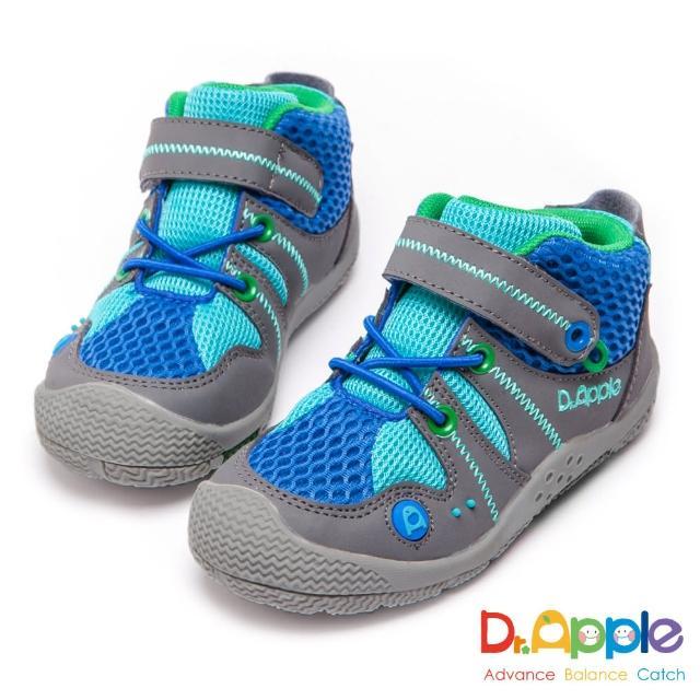 【Dr. Apple 機能童鞋】大童拼接網布帥氣短筒運動鞋(藍)