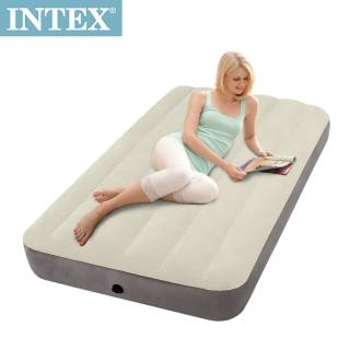 【INTEX】新型氣柱-單人加大植絨充氣床墊(寬99cm)