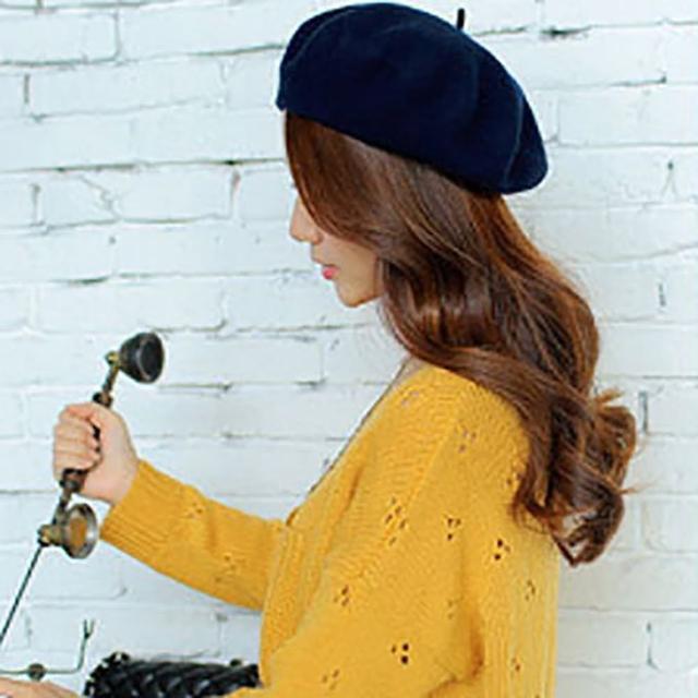 【美娜甜心】日系vivi款氣質名媛羊毛呢貝雷帽/羊毛帽/帽子(貝蕾帽)