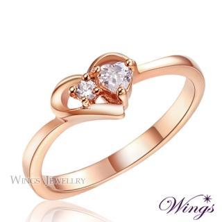 【WINGS】心媛 甜蜜愛心型設計抗過敏玫瑰金戒指 聖誕(鋼戒 可做尾戒)