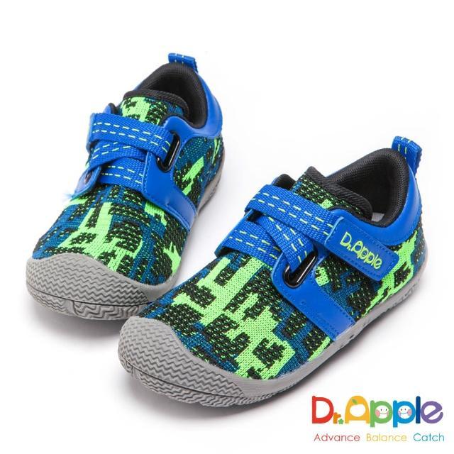 【Dr. Apple 機能童鞋】大童幾何迷彩針織運動鞋(綠)