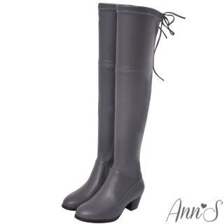 【Ann'S】俐落線條-羊紋後蝴蝶結貼腿彈力側拉鍊過膝長靴(咖啡)