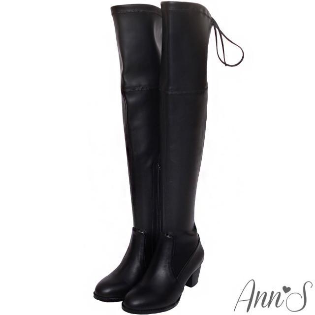【Ann'S】俐落線條-羊紋後蝴蝶結貼腿彈力側拉鍊過膝長靴(黑)
