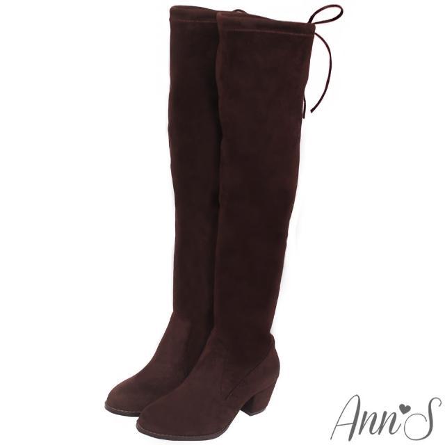 【Ann'S】纖瘦名模-絨質後蝴蝶結側拉鍊貼腿過膝長靴(咖啡)