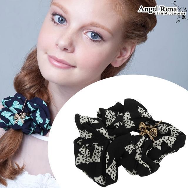 【Angel Rena】點點蝴蝶結垂墜大腸圈髮束(黑色)