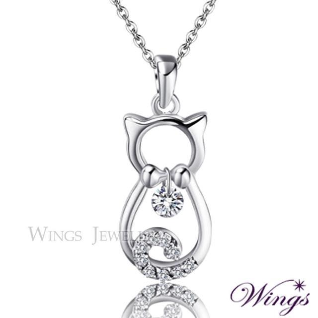 【WINGS】寶貝貓貓 甜蜜可愛精鍍白K金方晶鋯石項鍊(墜子 吊墜 貓)