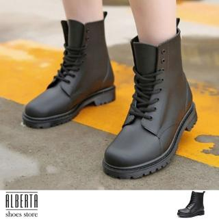 【Alberta】加大尺碼 英式雨鞋 綁帶馬丁雨靴 雨天熱銷款 輕便百搭防水 低粗跟雨鞋(黑色)