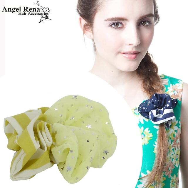 【Angel Rena】條紋雪紡星星大腸圈髮束(黃白)