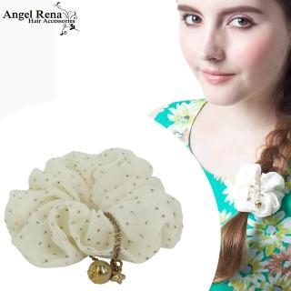 【Angel Rena】雪紡點點星星金珠垂墜髮束(米白)