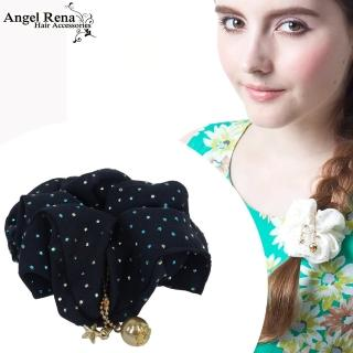 【Angel Rena】雪紡點點星星金珠垂墜髮束(深藍)