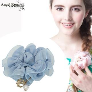 【Angel Rena】雪紡海錨珍珠垂墜髮束(粉藍)