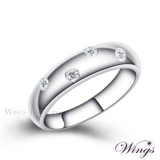 【WINGS】誓約 頂級八心八箭方晶鋯石 925純銀鍍白K戒指 窄版(對戒 中性戒 女戒)