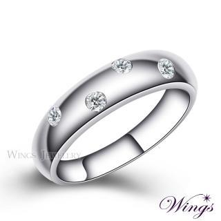 【WINGS】誓約 頂級八心八箭方晶鋯石 925純銀鍍白K戒指 寬版(對戒 中性戒 男戒)