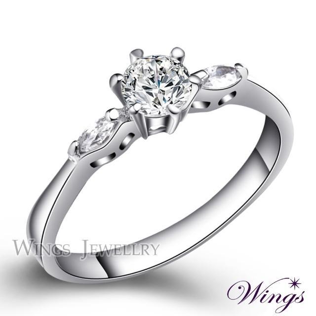 【WINGS】輕盈 八心八箭閃耀方晶鋯石戒指(女戒 鋯鑽 擬真鑽)