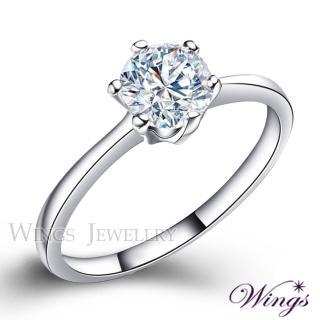 【WINGS】經典六爪鑲 頂級八心八箭方晶鋯石美鑽戒指 聖誕(女戒 鋯鑽 擬真鑽 單鑽)