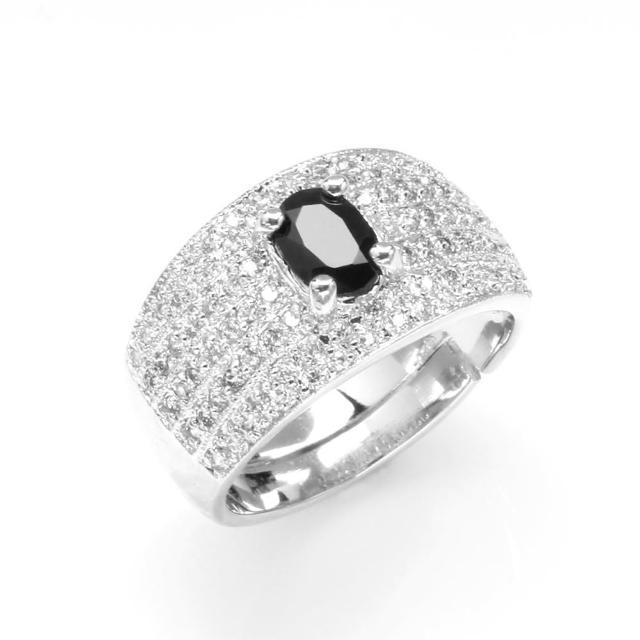 【寶石方塊】天王星天然1克拉黑藍寶石戒指-活圍設計