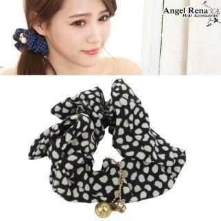 【Angel Rena】點點圈圈˙水晶珠珠墜飾髮束(黑米白)