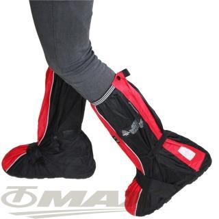 【天龍牌】疾風賽車型強韌厚底雨鞋套-紅黑(12H)