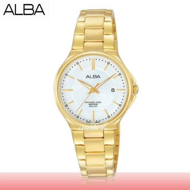 【SEIKO 精工 ALBA 系列】氣質必備 不鏽鋼錶帶 防水 日期顯示 藍寶石水晶鏡面 女錶(AH7J56X1)