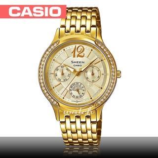【CASIO 卡西歐 SHEEN 系列】送禮首選_日期顯示_不鏽鋼錶帶_防水_氣質女錶(SHE-3030BGD)