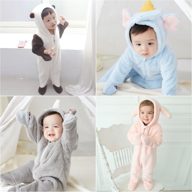 【baby童衣】珊瑚絨超厚冬日動物造型包腳連身衣 50413(共2色)