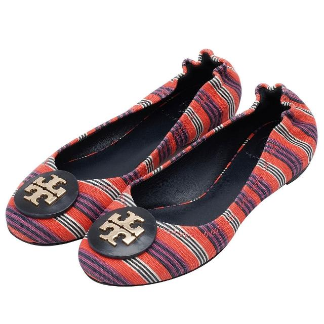 TORY BURCH 立體金色LOGO多彩線條帆布平底娃娃鞋(深藍X橘色)4772-DE-BLU-ORA