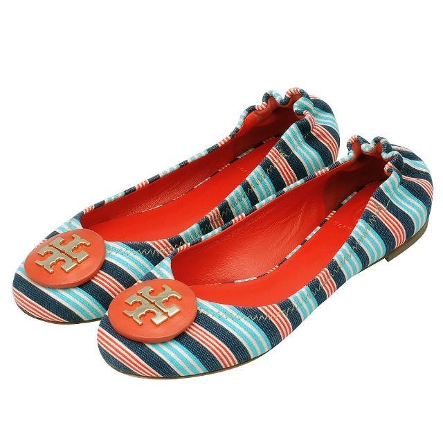【TORY BURCH】立體金色LOGO多彩線條帆布平底娃娃鞋(橘色X水藍4772-ORA-BLUE)