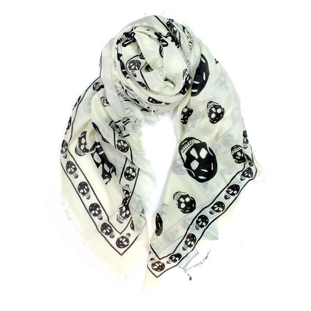 【Alexander McQueen】經典骷髏混紡絲巾(104X120/米白)