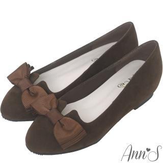 【Ann'S】優雅輕甜-織帶蝴蝶結V口內增高娃娃鞋(咖)