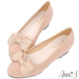 【Ann'S】優雅輕甜-織帶蝴蝶結V口內增高娃娃鞋(杏)