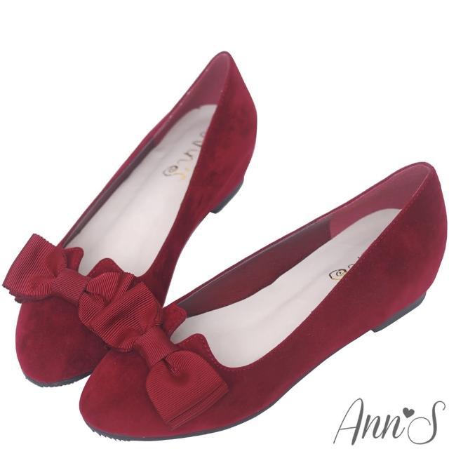 【Ann'S】優雅輕甜-織帶蝴蝶結V口內增高娃娃鞋(酒紅)
