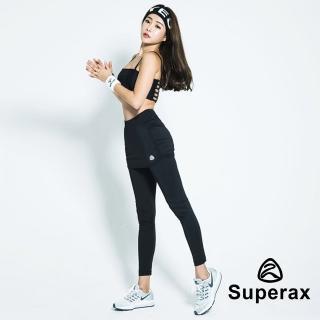 【Superax】SW-170 假兩件運動彈性緊身褲.長褲(黑色)