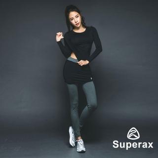 【Superax】SW-170 假兩件運動彈性緊身褲.長褲(灰色)