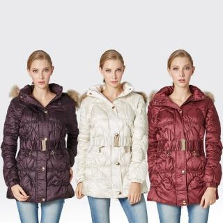 【SAMLIX山力士】JIS90%女俏麗時尚防潑水羽絨外套#317(紫色.紅色.白色)