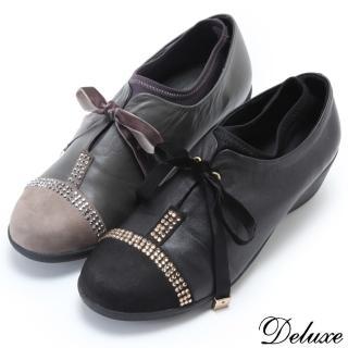 【Deluxe】全真皮酷帥時尚水鑽綁帶厚底鞋(黑-灰)
