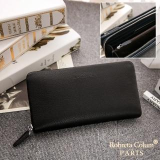 【Roberta Colum】經典品味鹿紋牛皮雙拉鍊手拿包-共3色