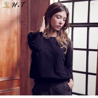 【玄太】柔感造型袖腰部抽繩針織上衣(黑)