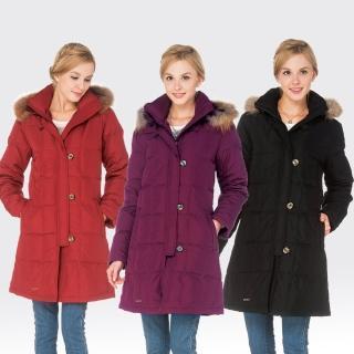 【SAMLIX山力士】JIS90%女歐風時尚防潑水羽絨外套#34512(磚紅.黑色.紫色)