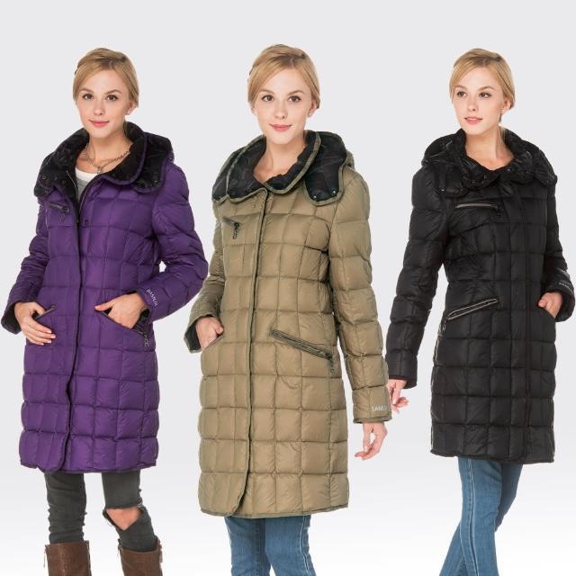 【SAMLIX山力士】JIS90%女輕量化歐風時尚防潑水羽絨外套#32514(黑色.紫色.卡其)