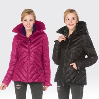 【SAMLIX山力士】JIS90%女歐風時尚防潑水羽絨外套#32714(黑色.紫色)