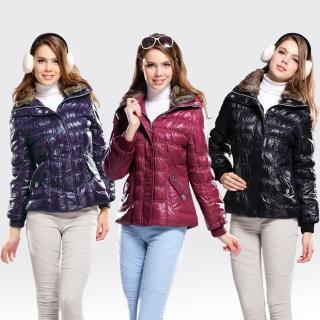 【SAMLIX山力士】JIS90%女歐風時尚防潑水羽絨外套#393(紅色.黑色.紫色)